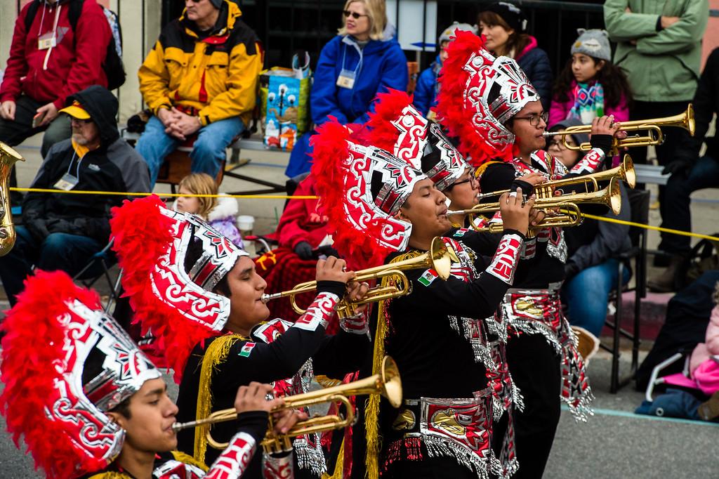 . Escuela Secundaria Tecnica Industrial No. 3, Buhos Marching Band on Colorado Blvd. during the 2017 Rose Parade in Pasadena on Monday, January 2, 2017. (Photo by Watchara Phomicinda, San Gabriel Valley Tribune/ SCNG)