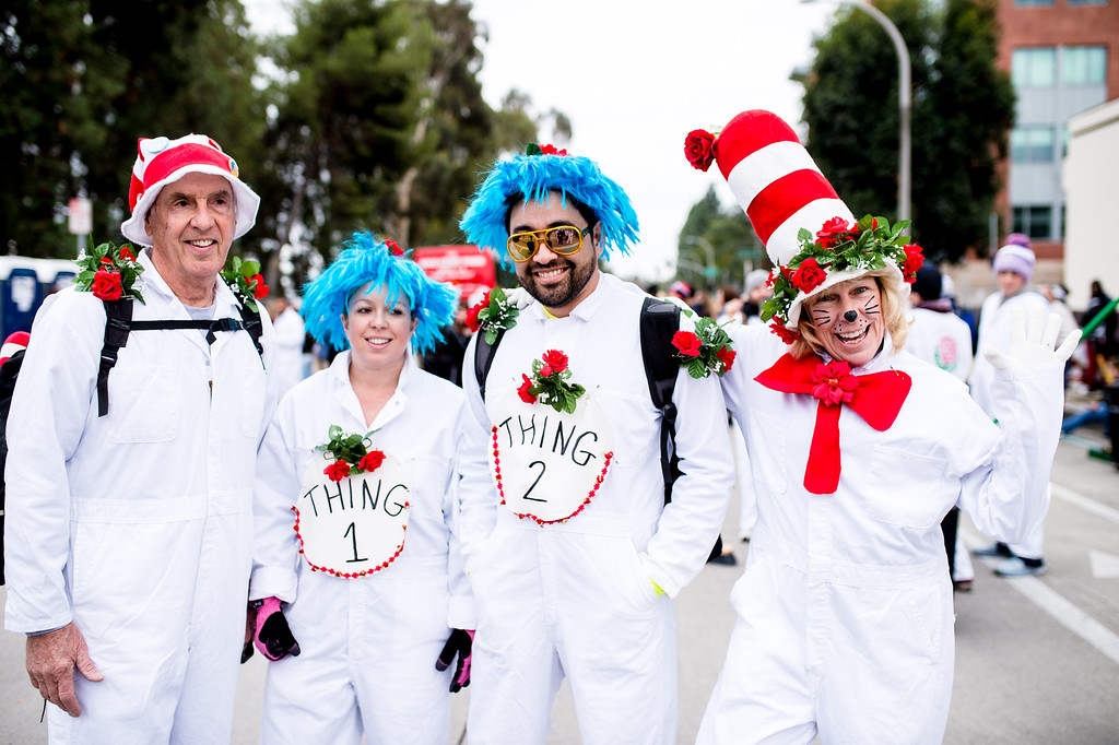. Pooper scoopers show off their  Cat in the Hat costumes  before the start of the 2017 Rose Parade in Pasadena on Monday, January 2, 2017. (Photo by Watchara Phomicinda, San Gabriel Valley Tribune/ SCNG)