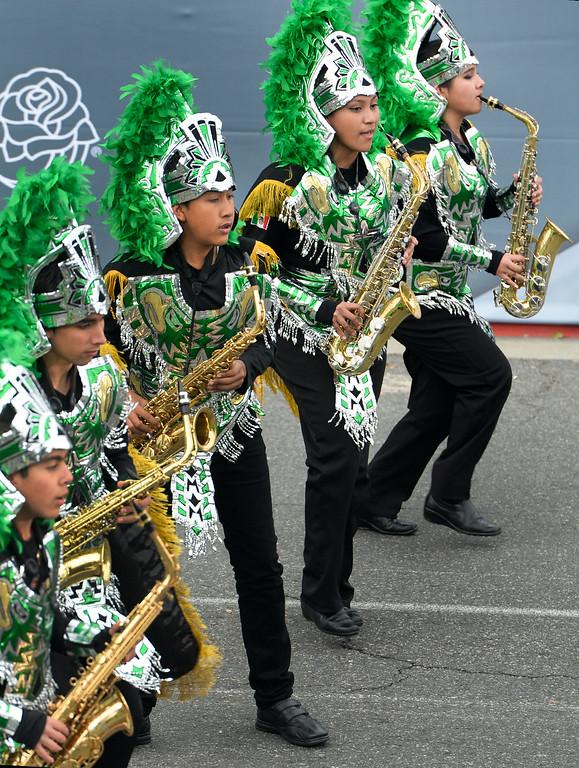 . The Buhos Marching Band from Xalapa, Veracruz, Mexico during the Rose Parade on Colorado Blvd. in Pasadena, Calif. on Monday,  January 2, 2017.  (Photo by Leo Jarzomb/Pasadena Star News/SCNG)
