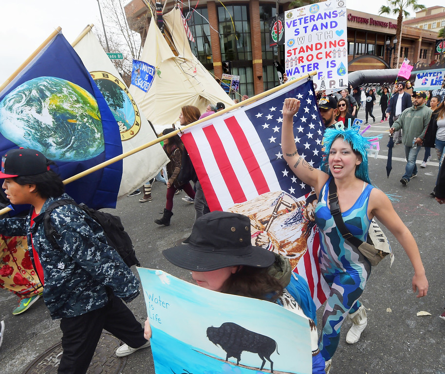 . Veterans Stand With Standing Rock-Water is Life protest march after the conclusion of the Rose Parade. (Photo by Walt Mancini/Pasadena Star-News)