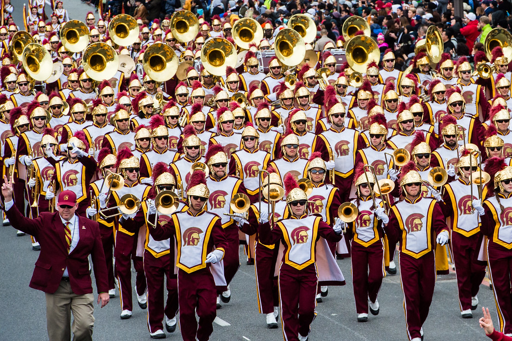. USC Trojan Marching Band on Colorado Blvd. during the 2017 Rose Parade in Pasadena on Monday, January 2, 2017. (Photo by Watchara Phomicinda, San Gabriel Valley Tribune/ SCNG)