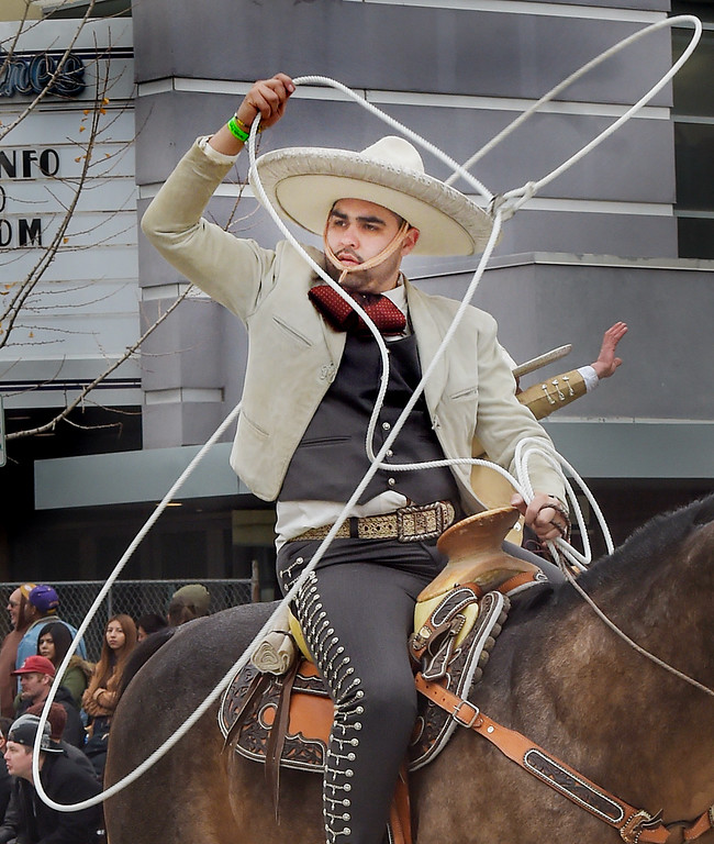 """. Equestrian performing his skill with a rope during the 128th Rose Parade \""""Echoes of Success\"""". (Photo by Walt Mancini/SCNG)"""