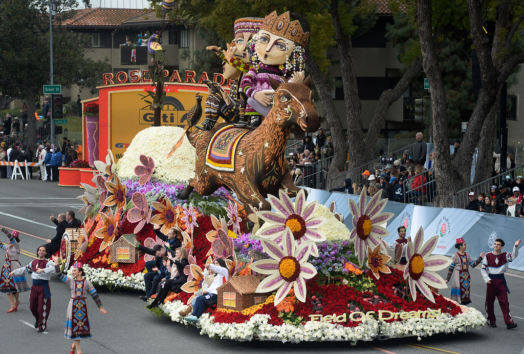 """. Past Presidents Trophy award winner, the American Armenian Float Association\'s \""""Field of Dreams\"""" during the Rose Parade on Colorado Blvd. in Pasadena, Calif. on Monday,  January 2, 2017.  (Photo by Leo Jarzomb/Pasadena Star News/SCNG)"""
