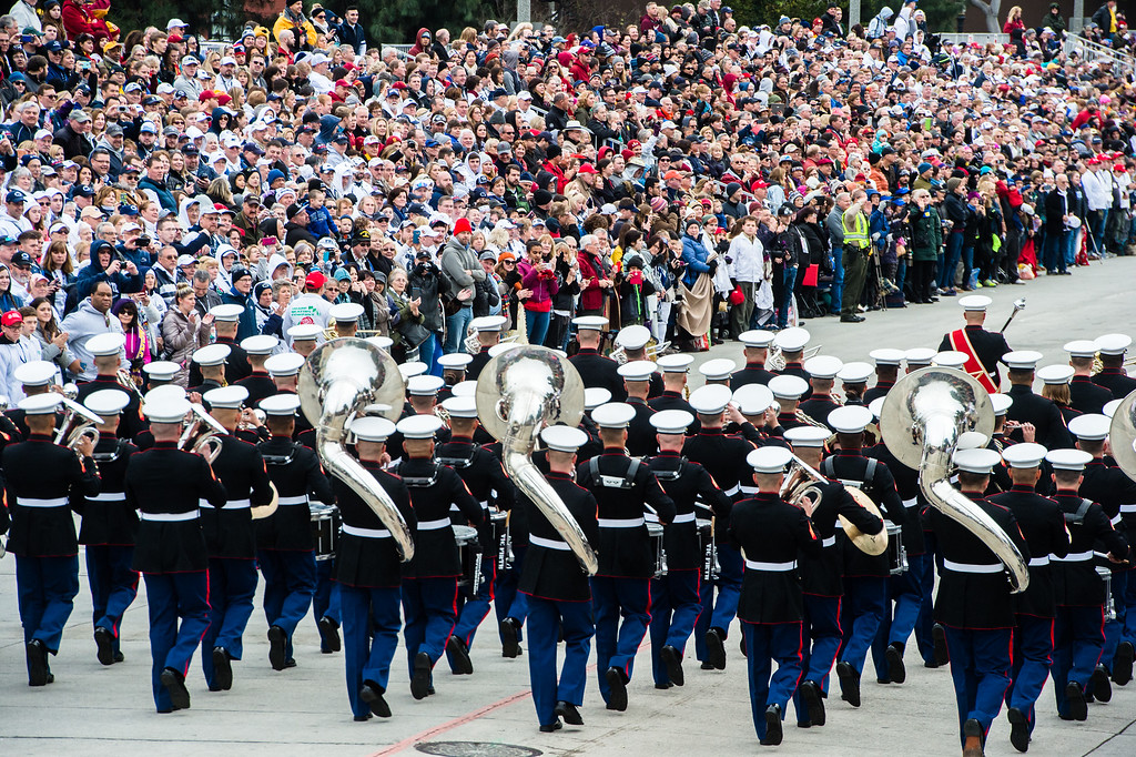 . United States Marine Corps West Coast Composite Band march on Colorado Blvd. during the 2017 Rose Parade in Pasadena on Monday, January 2, 2017. (Photo by Watchara Phomicinda, San Gabriel Valley Tribune/ SCNG)