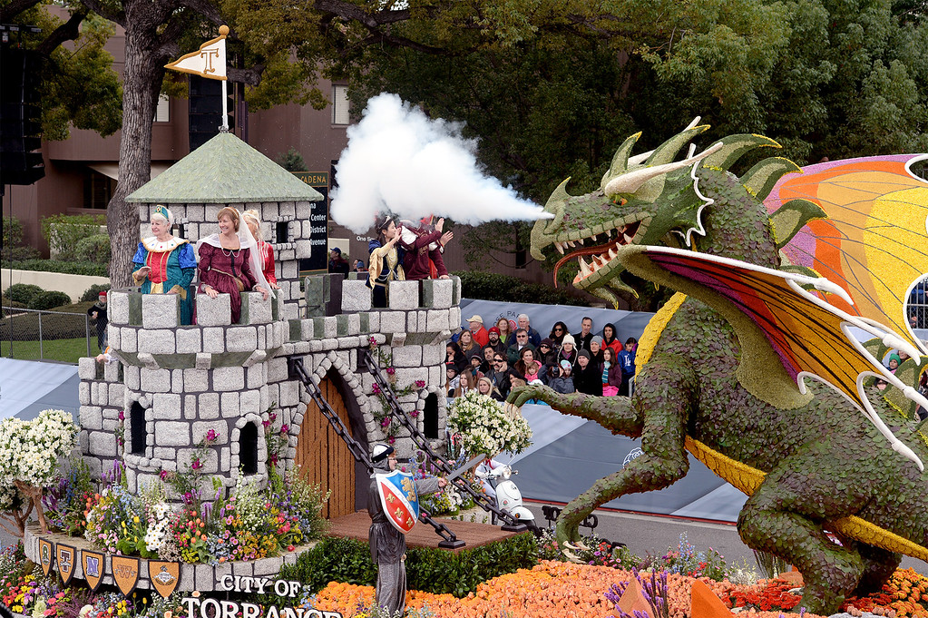 """. The Torrance Rose Float Association float \""""Be Your Own Knight\"""" wins the Tournament Volunteers Trophy during the Rose Parade on Colorado Blvd. in Pasadena, Calif. on Monday,  January 2, 2017.  (Photo by Leo Jarzomb/Pasadena Star News/SCNG)"""