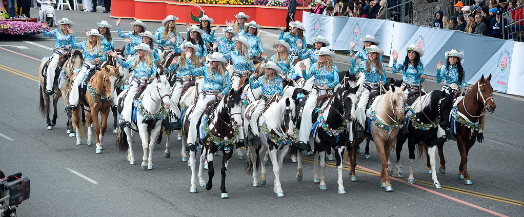 . The Norco Cowgirls and Little Miss Norco Rodeo Drill Team during the Rose Parade on Colorado Blvd. in Pasadena, Calif. on Monday,  January 2, 2017.  (Photo by Leo Jarzomb/Pasadena Star News/SCNG)