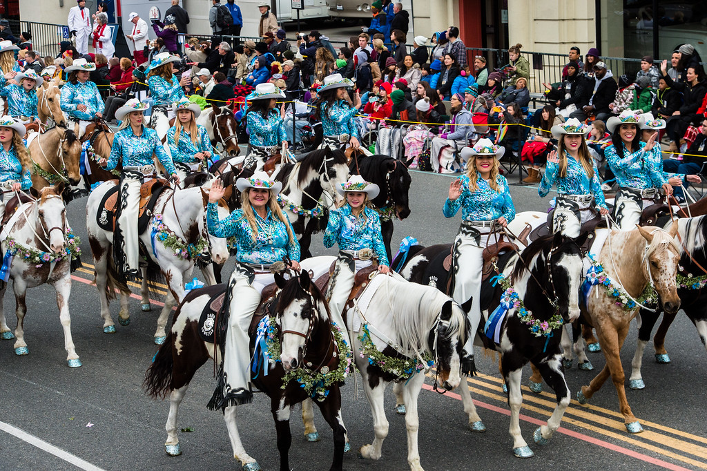 . The Norco Cowgirls and The Little Miss Norco Cowgirls Rodeo Drill Team on Colorado Blvd. during the 2017 Rose Parade in Pasadena on Monday, January 2, 2017. (Photo by Watchara Phomicinda, San Gabriel Valley Tribune/ SCNG)
