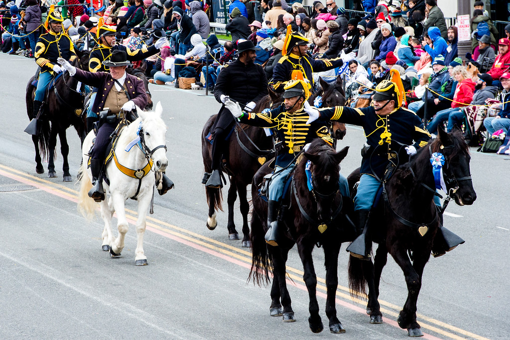 . The New Buffalo Soldiers ride along Colorado Blvd. during the 2017 Rose Parade in Pasadena on Monday, January 2, 2017. (Photo by Watchara Phomicinda, San Gabriel Valley Tribune/ SCNG)