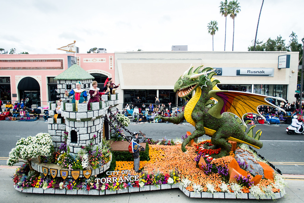 . Torrance - �Be Your Own Knight� float on Colorado Blvd. during the 2017 Rose Parade in Pasadena on Monday, January 2, 2017. (Photo by Watchara Phomicinda, San Gabriel Valley Tribune/ SCNG)