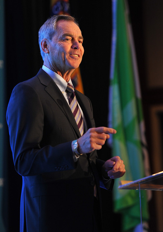 . Al Moro,  the acting executive director who manages the department that oversees the Port of Long Beach, delivers the State of the Port Address to a crowd of more than 600 on Thursday morning.  Long Beach, January 23, 2014. (Photo by Brittany Murray / Press Telegram)