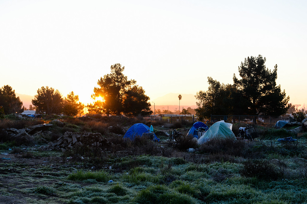 . A homeless encampment is set up near Seccombe Lake Park in San Bernardino, Calif. on Thursday, Jan. 26, 2017. San Bernardino County Sheriff\'s HOPE team and the San Bernardino County Homeless Partnership spend the morning talking to and counting homeless individuals throughout the city and San Bernardino County in order to develop current and future services that serve the homeless population. (Photo by Rachel Luna/The Sun, SCNG)