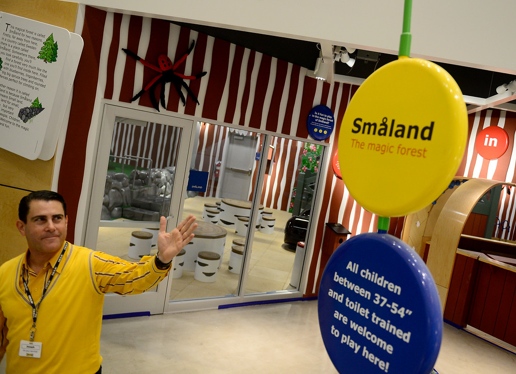 . Joseph Roth, IKEA spokesman, points out the child care area.  The 456,000 square-foot new IKEA in Burbank is located on 22 acres. The opening is scheduled for Wednesday, February 8.  IKEA held a media preview on Wednesday, February 1, 2017.  (Photo by Dean Musgrove, Los Angeles Daily News/SCNG)