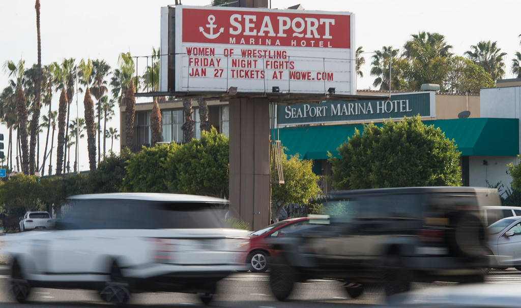 . The marque in front of the Seaport Marina Hotel which shut its doors this week in Long Beach Wednesday, February 1, 2017. The 54-year-old hotel, which sits at the gateway to Long Beach from its OC border with Seal Beach, has fallen into disrepair over the years. (Photo by Thomas R. Cordova, Press-Telegram/SCNG)