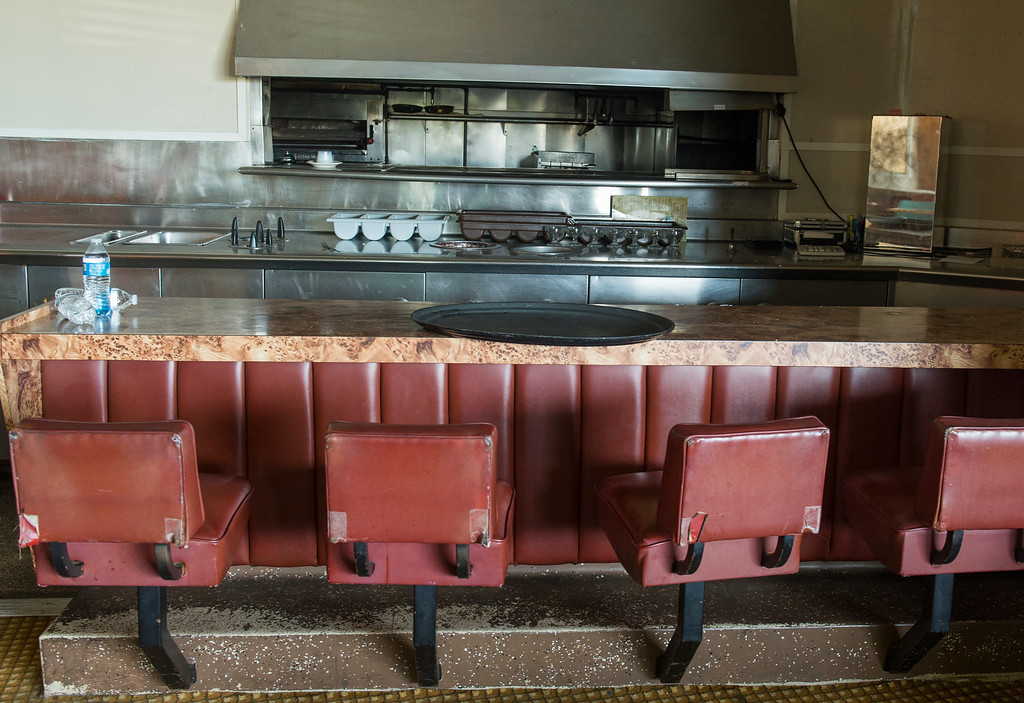 . An empty dinning room and kitchen at the Seaport Marina Hotel which shut its doors this week in Long Beach Wednesday, February 1, 2017. The 54-year-old hotel, which sits at the gateway to Long Beach from its OC border with Seal Beach, has fallen into disrepair over the years. (Photo by Thomas R. Cordova, Press-Telegram/SCNG)