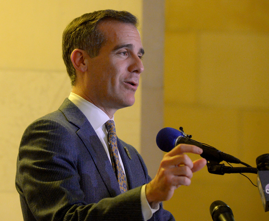 . Los Angeles Mayor Garcetti talks at the Never Again event at Los Angeles City Hall as Actor and Activist George Takei presented over 300,000 Care2 petition signatures supporting the Muslim community to leaders of the Muslim Public Affairs Council in the wake of President Trump�s Executive Order banning immigration from seven predominantly Muslim countries at city hall in Los Angeles Monday, February 13, 2017. (Photo by Thomas R. Cordova, Daily News/SCNG)
