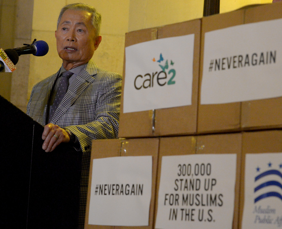 . Actor and activist George Takei presented over 300,000 Care2 petition signatures supporting the Muslim community to leaders of the Muslim Public Affairs Council in the wake of President Trump�s Executive Order banning immigration from seven predominantly Muslim countries at city hall in Los Angeles Monday, February 13, 2017. (Photo by Thomas R. Cordova, Daily News/SCNG)