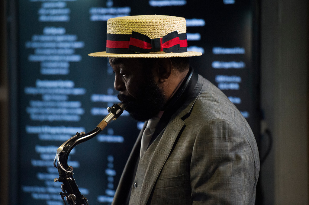 . Alvin Hayes Jr. performs on his saxophone at the Long Beach Black History Month celebration titled �Rich History, Bright Future� at city hall in Long Beach Tuesday, February 14, 2017. (Photo by Thomas R. Cordova, Press-Telegram/SCNG)