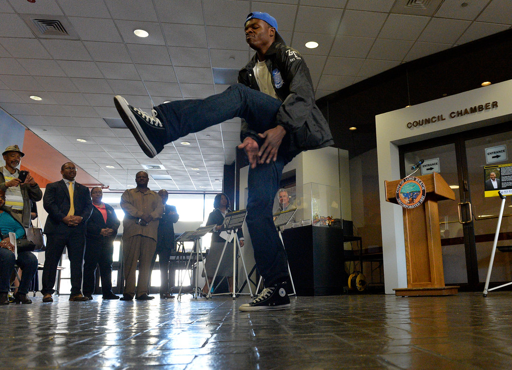 . Langston Tolbert, of Cal State Univerity Long Beach, performs as he steps at the Long Beach Black History Month celebration titled �Rich History, Bright Future� at city hall in Long Beach Tuesday, February 14, 2017. (Photo by Thomas R. Cordova, Press-Telegram/SCNG)