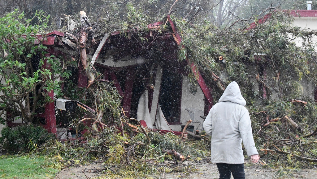 . Feb 17,2017. Northridge Ca. A house on Chase St. suffered damage by a blown down tree from todays most powerful storm to hit the Southland in seven years is moving across the region, bringing heavy winds, snow and torrential rain that has raised the specter of flash flooding.   Photo by Gene Blevins/LA DailyNews/SCNG