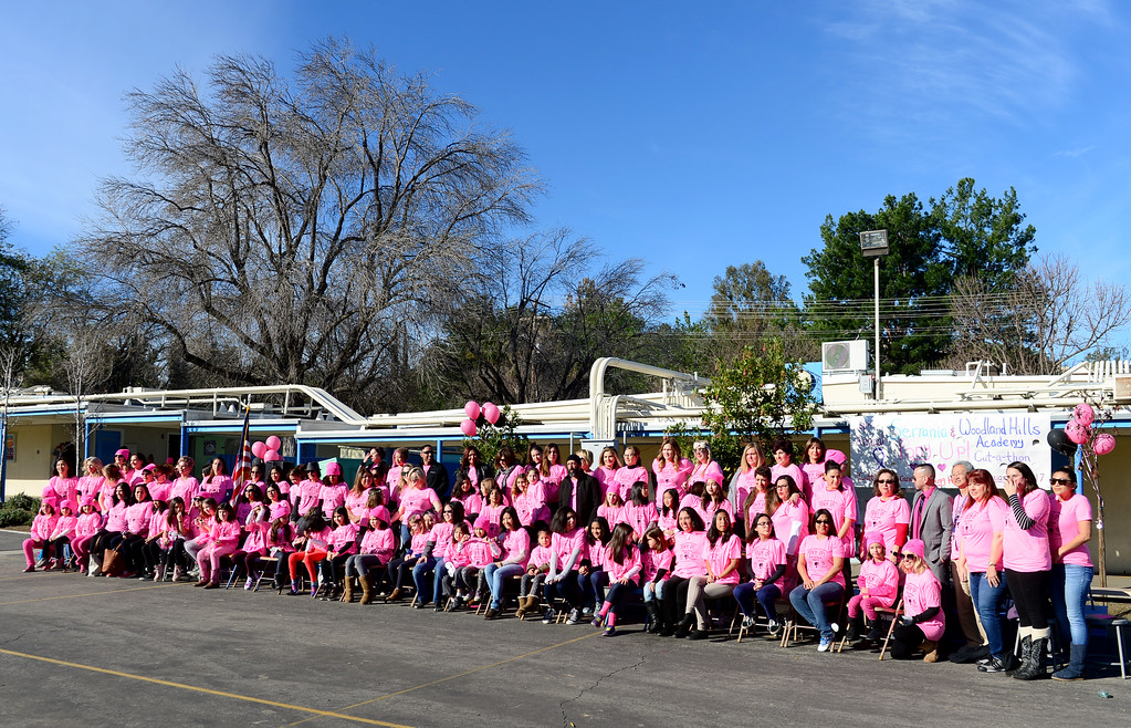 . During its outdoor school assembly, 57 students, teachers, and parents had their ponytails cut off by professional hair stylists from the community on Friday, February 24, 2017.  The fourth annual �Pony Up Cut-A-Thon� event at Serrania Charter for Enriched Studies elementary school included neighborhood middle school, Woodland Hills Academy.  The hair will be donated and made into wigs to help people with cancer.  (Photo by Dean Musgrove, Los Angeles Daily News/SCNG)
