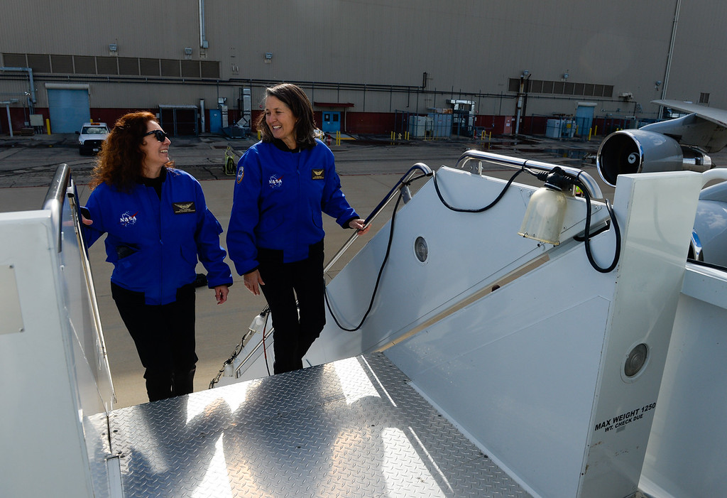. Teachers Marie Thornsberry, left, and Wendi Rodriguez board SOFIA, NASA\'s Stratospheric Observatory for Infrared Astronomy 747 plane, at the NASA Armstrong Flight Research Center at Palmdale Regional Airport in Palmdale, Calif. on Tuesday, Jan. 24, 2017.  Four educators, two from California and two from Wisconsin, flew on the flight at part of NASA\'s Airborne Astronomy Ambassadors program. (Photo by Rachel Luna/The Sun, SCNG)