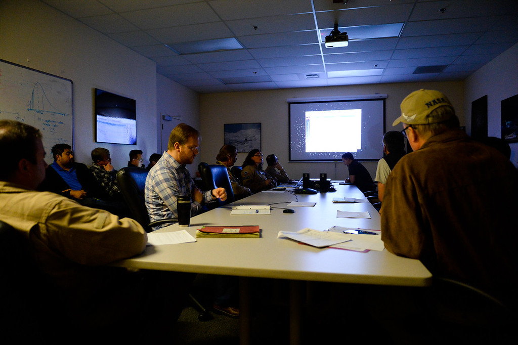 . NASA flight crew and scientist hold a mission briefing before taking flight on SOFIA, NASA\'s Stratospheric Observatory for Infrared Astronomy 747 plane, at the NASA Armstrong Flight Research Center at Palmdale Regional Airport in Palmdale, Calif. on Tuesday, Jan. 24, 2017. Four educators, two from California and two from Wisconsin, flew on the flight at part of NASA\'s Airborne Astronomy Ambassadors program. (Photo by Rachel Luna/The Sun, SCNG)