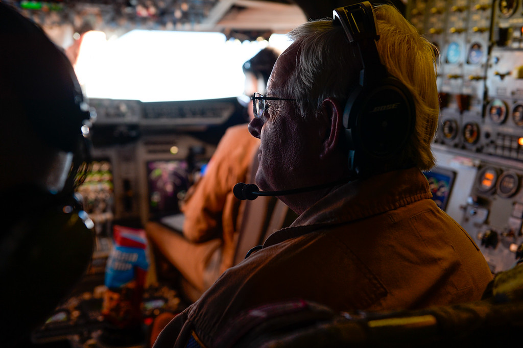 . NASA flight engineer Tim Sandon works in the cockpit of the SOFIA, NASA\'s Stratospheric Observatory for Infrared Astronomy 747 plane, as they fly on a 10-hour, 5,000-mile flight from California to Texas, then up to British Columbia and back on Tuesday, Jan. 24, 2017.  Four educators, two from California and two from Wisconsin, flew on the flight at part of NASA\'s Airborne Astronomy Ambassadors program. (Photo by Rachel Luna/The Sun, SCNG)