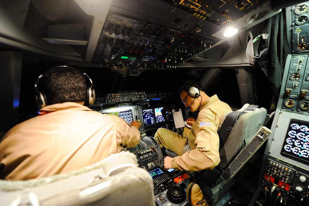 . NASA pilot Manny Antimisiaris, left, and pilot Mike Luallen fly SOFIA, NASA\'s Stratospheric Observatory for Infrared Astronomy 747 plane on a 10-hour, 5,000-mile flight from California to Texas, then up to British Columbia and back on Tuesday, Jan. 24, 2017.  Four educators, two from California and two from Wisconsin, flew on the flight at part of NASA\'s Airborne Astronomy Ambassadors program. (Photo by Rachel Luna/The Sun, SCNG)