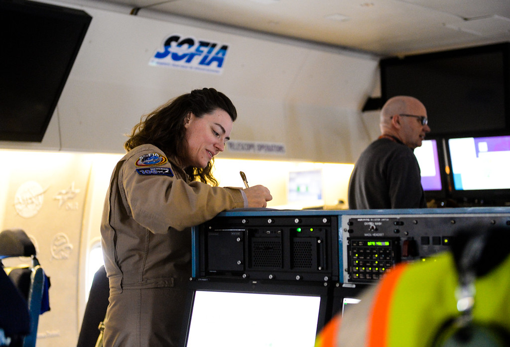 . Mission Director Karina Keppik on SOFIA, NASA\'s Stratospheric Observatory for Infrared Astronomy 747 plane, at the NASA Armstrong Flight Research Center at Palmdale Regional Airport in Palmdale, Calif. on Tuesday, Jan. 24, 2017.  Four educators, two from California and two from Wisconsin, flew on the flight at part of NASA\'s Airborne Astronomy Ambassadors program. (Photo by Rachel Luna/The Sun, SCNG)