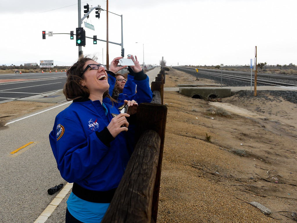 . (Left to right) Teachers Teachers Ashley Adams, Wendi Rodriguez and Marie Thornsberry watch SOFIA, NASA\'s Stratospheric Observatory for Infrared Astronomy 747 plane, fly out of the NASA Armstrong Flight Research Center at Palmdale Regional Airport in Palmdale, Calif. on Monday, Jan. 23, 2017.  Four educators, two from California and two from Wisconsin, flew on the flight at part of NASA\'s Airborne Astronomy Ambassadors program on Jan. 24. (Photo by Rachel Luna/The Sun, SCNG)