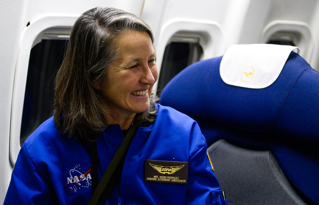 . Science teacher Wendi Rodriguez takes in sitting in a seat aboard SOFIA, NASA\'s Stratospheric Observatory for Infrared Astronomy 747 plane, as she flies on a 10-hour, 5,000-mile flight from California to Texas, then up to British Columbia and back on Tuesday, Jan. 24, 2017.  Four educators, two from California and two from Wisconsin, flew on the flight at part of NASA\'s Airborne Astronomy Ambassadors program. (Photo by Rachel Luna/The Sun, SCNG)