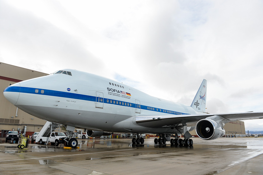 . SOFIA, NASA\'s Stratospheric Observatory for Infrared Astronomy 747 plane, is readied for a flight out of the NASA Armstrong Flight Research Center at Palmdale Regional Airport in Palmdale, Calif. on Monday, Jan. 23, 2017.  Four educators, two from California and two from Wisconsin, flew on the flight at part of NASA\'s Airborne Astronomy Ambassadors program on Jan. 24. (Photo by Rachel Luna/The Sun, SCNG)