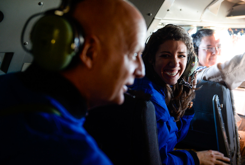. Wisconsin seventh and eight grade science teacher Ashely Adams and Geoff Holt, who runs a planetarium for the Madison Metropolitan School District in Madison, Wisconsin, fly in the cockpit of NASA\'s Stratospheric Observatory for Infrared Astronomy 747 plane at the NASA Armstrong Flight Research Center at Palmdale Regional Airport in Palmdale, Calif. on Tuesday, Jan. 24, 2017. Four educators, two from California and two from Wisconsin, flew on the flight at part of NASA\'s Airborne Astronomy Ambassadors program. (Photo by Rachel Luna/The Sun, SCNG)