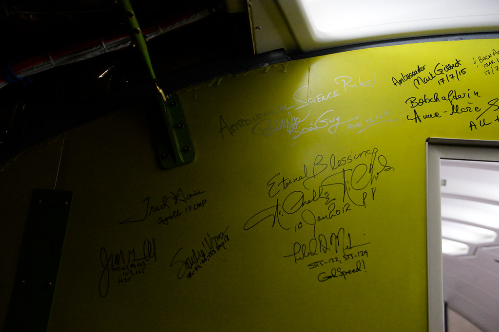 . Prominent NASA officials, scientists and government officials leave autographs on a wall inside SOFIA, NASA\'s Stratospheric Observatory for Infrared Astronomy 747 plane, stationed at the NASA Armstrong Flight Research Center at Palmdale Regional Airport in Palmdale, Calif. on Monday, Jan. 23, 2017. Four educators, two from California and two from Wisconsin, flew on the flight at part of NASA\'s Airborne Astronomy Ambassadors program on Jan. 24. (Photo by Rachel Luna/The Sun, SCNG)