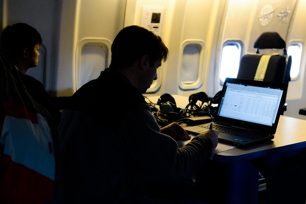 . NASA scientists gather data from Mars, two asteroids and a distant galaxy as they fly on SOFIA, NASA\'s Stratospheric Observatory for Infrared Astronomy 747 plane, as they fly on a 10-hour, 5,000-mile flight from California to Texas, then up to British Columbia and back on Tuesday, Jan. 24, 2017. Four educators, two from California and two from Wisconsin, flew on the flight at part of NASA\'s Airborne Astronomy Ambassadors program. (Photo by Rachel Luna/The Sun, SCNG)