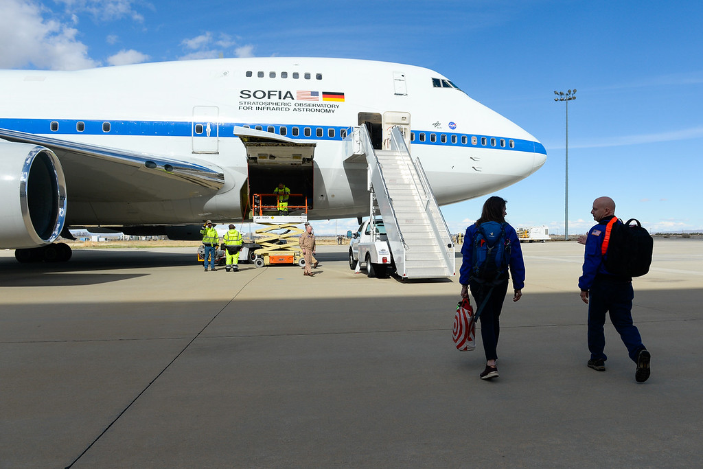 . SOFIA, NASA\'s Stratospheric Observatory for Infrared Astronomy 747 plane, is readied for a flight out of the NASA Armstrong Flight Research Center at Palmdale Regional Airport in Palmdale, Calif. on Tuesday, Jan. 24, 2017.  Four educators, two from California and two from Wisconsin, flew on the flight at part of NASA\'s Airborne Astronomy Ambassadors program. (Photo by Rachel Luna/The Sun, SCNG)