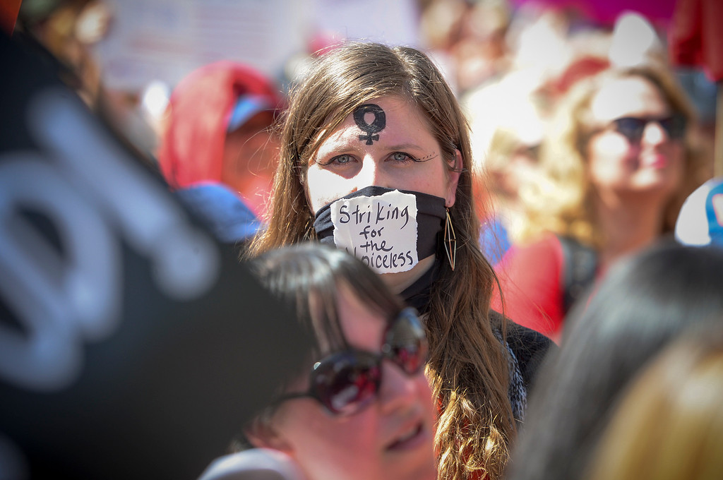 . People participate in a march marking \'A Day Without a Woman\' in downtown Los Angeles on Wednesday, March 8, 2017.  Similar events were staged throughout the country and worldwide.  (Photo by David Crane, Los Angeles Daily News/SCNG)