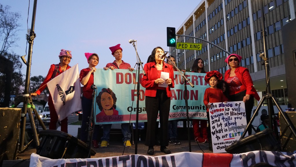 . Dolores Huerta speaks at the International Women\'s Day strike in downtown Los Angeles on Wednesday., March 8, 2017. (Photo by Matthew Carey/Special to the Los Angeles Daily News)