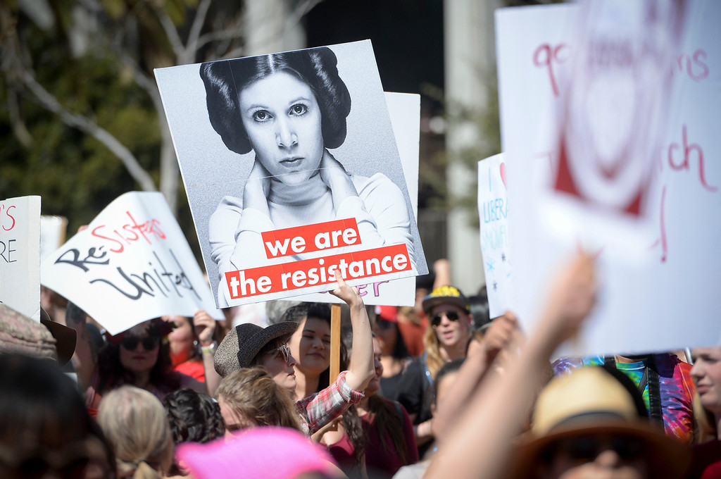. About 3,000 women participated inThe Day Without A Woman march/rally in downtown Los Angeles Wednesday, March 8, 2017.  Similar events were staged throughout the country and world-wide.  (Photo by David Crane, Los Angeles Daily News/SCNG)