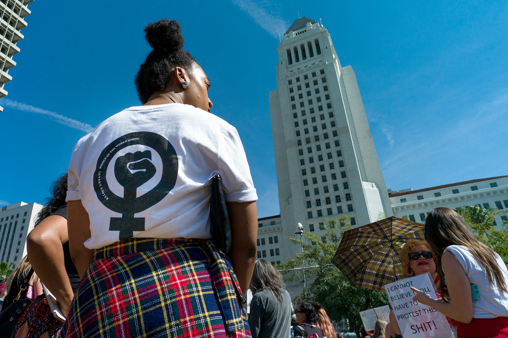 . People participated in a march marking \'A Day Without a Woman\' in downtown Los Angeles on Wednesday, March 8, 2017. Similar events were staged throughout the country and worldwide.  (Photo by David Crane, Los Angeles Daily News/SCNG)