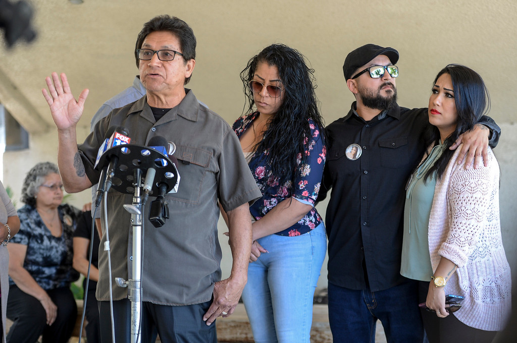 . Santo Duran of Arleta, father of Sandra Duran speaks to the media after the preliminary hearing for Estuardo Alvarado, who killed Sandra in a traffic accident.  Alvarado, an illegal immigrant, had previously been deported 5 times from the US.  Bail for Alvarado was set at more than 2 million dollars.  (Photo by David Crane, Los Angeles Daily News/SCNG)