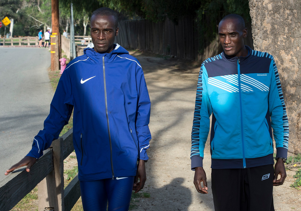 . Daniel Limo, 2015 Skechers Performance Los Angeles Marathon Champion, left, walks with Weldon Kirui, 2016 Skechers Performance Los Angeles Marathon Defending Champion, at Griffith Park in Los Angeles on Friday, March 17, 2017. (Photo by Ed Crisostomo, Los Angeles Daily News/SCNG)