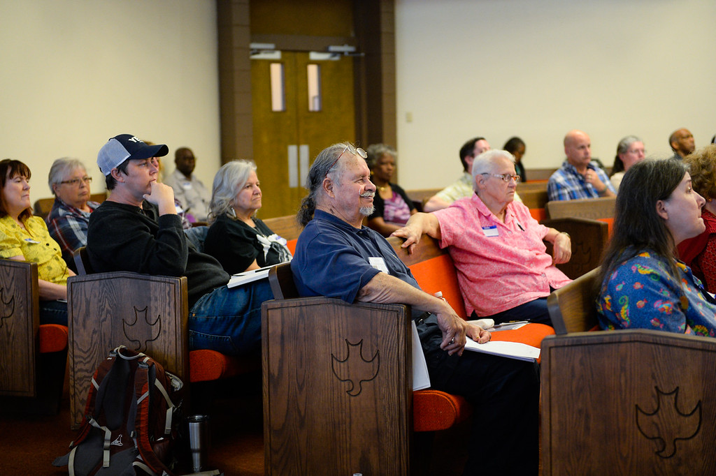 """. The community engages with a panel discussing mental health and law enforcement protocols at the 17th annual Faith and Justice Summit held at First Assembly of God in Yucaipa, Calif. on Thursday, March 16, 2017. The theme of this year\'s summit is \""""Community and Police Relations\"""" with a focus on \""""Mental Health First Aid.\"""" (Photo by Rachel Luna, Redlands Daily Facts/SCNG)"""