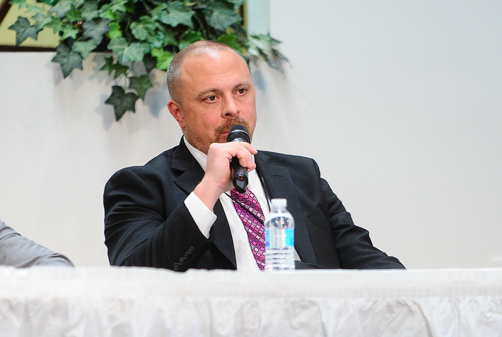 """. Sean Daugherty, San Bernardino County supervising deputy district attorney, speaks at the 17th annual Faith and Justice Summit held at First Assembly of God in Yucaipa, Calif. on Thursday, March 16, 2017. The theme of this year\'s summit is \""""Community and Police Relations\"""" with a focus on \""""Mental Health First Aid.\"""" (Photo by Rachel Luna, Redlands Daily Facts/SCNG)"""