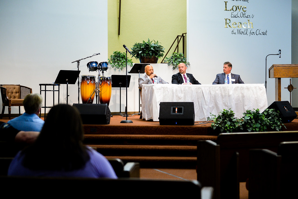 """. (From left to right) Dr. Dorian Burton with Christian Counseling Service in Redlands, Sean Daugherty, San Bernardino County supervising deputy district attorney, and Jason Horton, deputy chief with Riverside County Sheriff\'s Department, speak at the 17th annual Faith and Justice Summit held at First Assembly of God in Yucaipa, Calif. on Thursday, March 16, 2017. The theme of this year\'s summit is \""""Community and Police Relations\"""" with a focus on \""""Mental Health First Aid.\"""" (Photo by Rachel Luna, Redlands Daily Facts/SCNG)"""