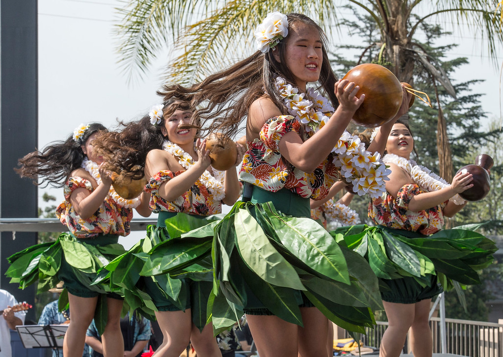 . Members of the Halau Na Pua Lehua I Ka Ua Noe group perform for an audience during The Annual West Covina Cherry Blossom Festival in West Covina on Saturday, March 18, 2017. (Photo by Ed Crisostomo, Los Angeles Daily News/SCNG)