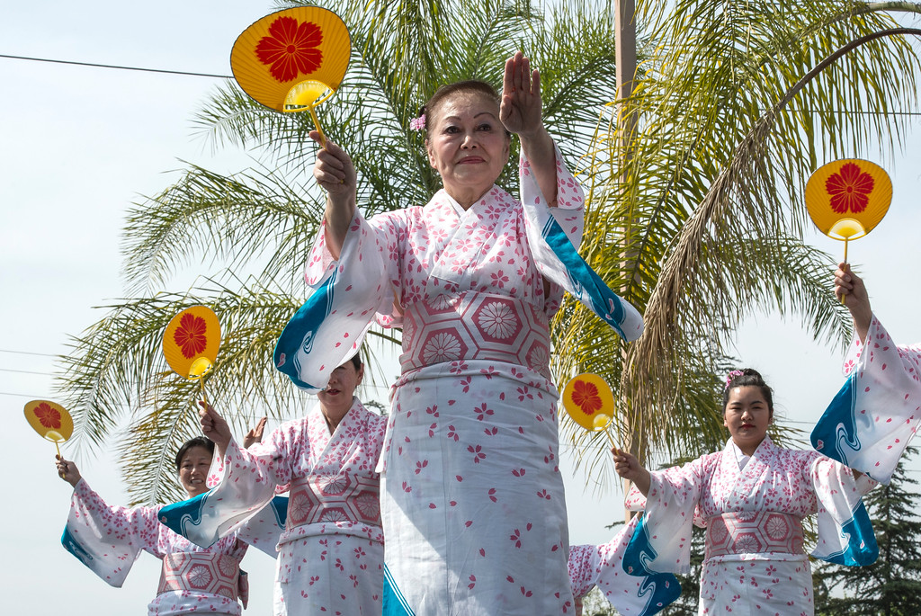 . Members of the Nippon Minyo Kenkyukai Hoshun Kai dance group of Los Angeles, perform for an audience during The Annual West Covina Cherry Blossom Festival in West Covina on Saturday, March 18, 2017. (Photo by Ed Crisostomo, Los Angeles Daily News/SCNG)