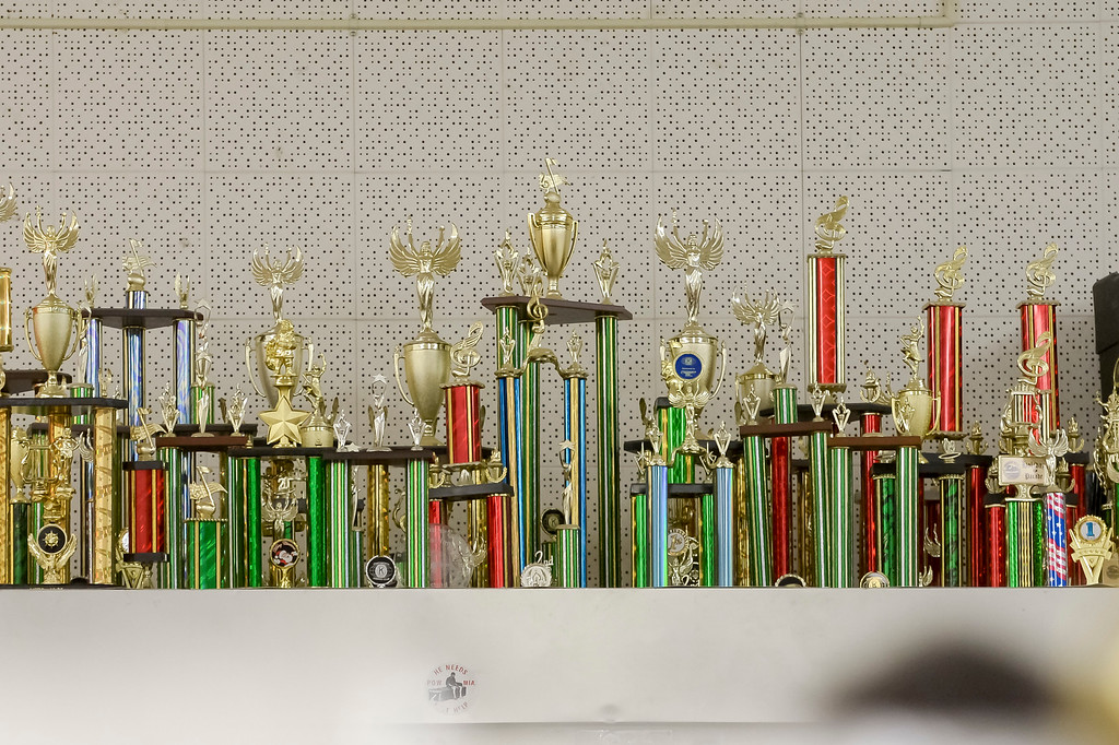 . Band trophies adorn the shelves in the band room at Cleveland high. Due to budget cuts the school went without a music teacher for several years, but a group of 9 students kept the band going as a student-run club. Now, the school has hired Yassaman and music programs at the school include marching band in the fall, a jazz band and two other groups.  ( Photo by David Crane, Los Angeles Daily News/SCNG)