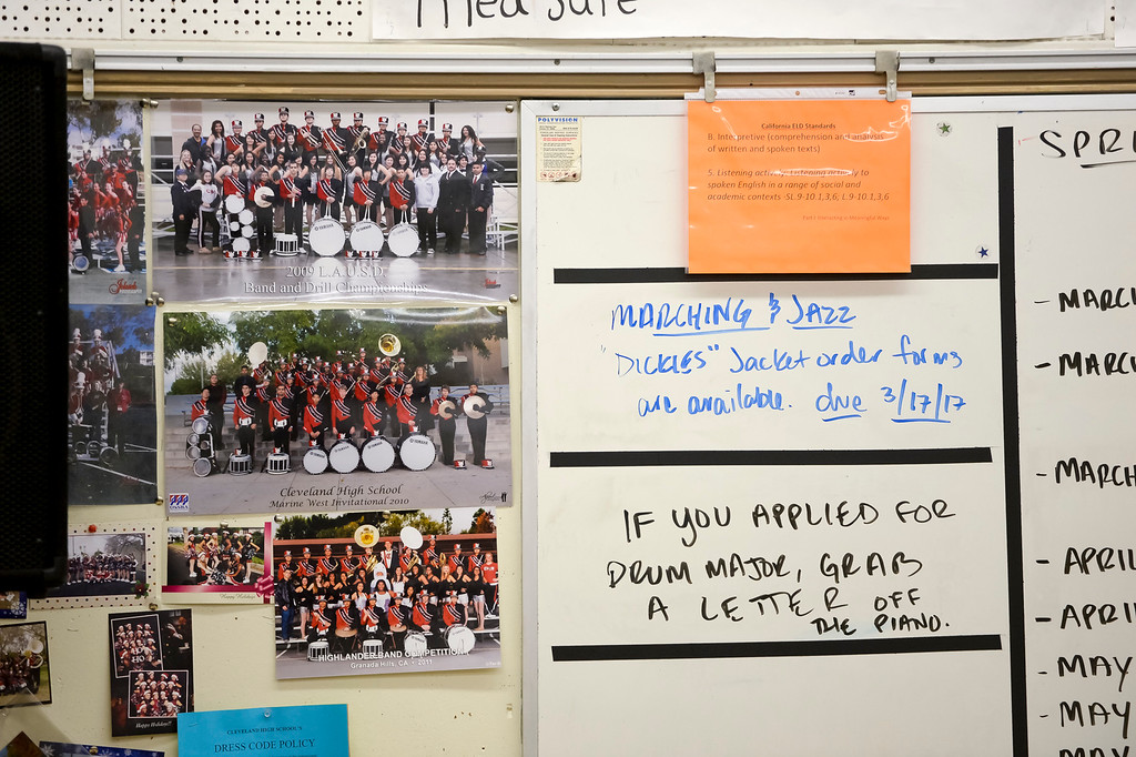 . Previous band photos on the wall in the band room at Cleveland high. Due to budget cuts the school went without a music teacher for several years, but a group of 9 students kept the band going as a student-run club. Now, the school has hired Yassaman and music programs at the school include marching band in the fall, a jazz band and two other groups.  ( Photo by David Crane, Los Angeles Daily News/SCNG)