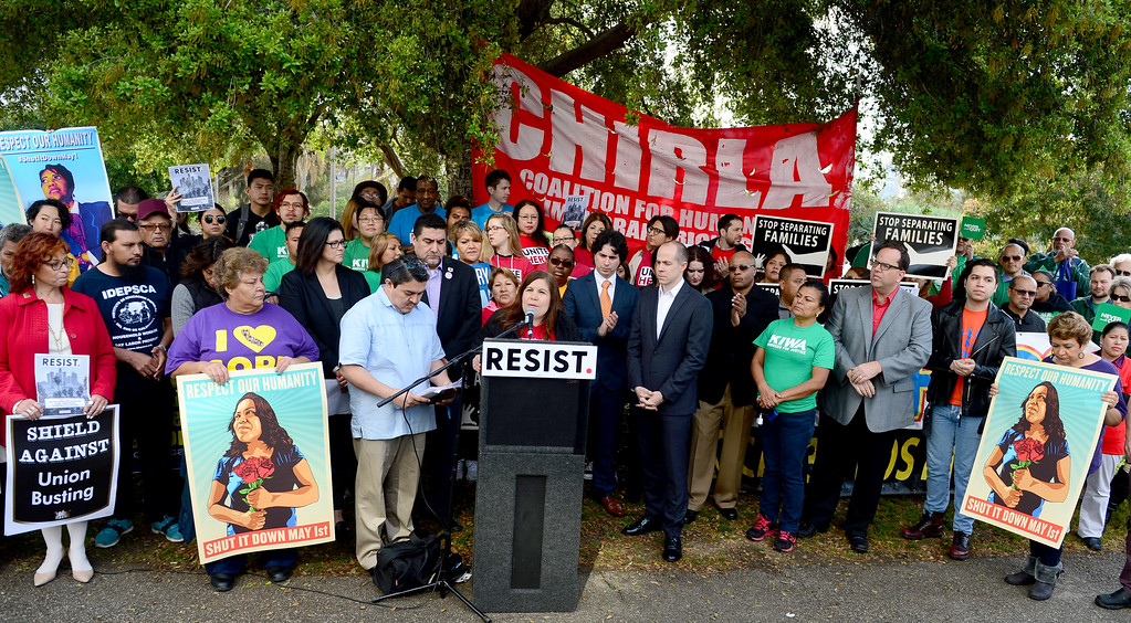 . More than 100 gathered at MacArthur Park in Los Angeles  on Wednesday, March 22, 2017 to bring attention to the planned May Day march and rally.  The May Day Coalition of Los Angeles, a broad network of organizations from throughout the region, announced their plans to hold the event on May 1.  The march takes place annually on International Worker\'s Day.  (Photo by Dean Musgrove, Los Angeles Daily News/SCNG)